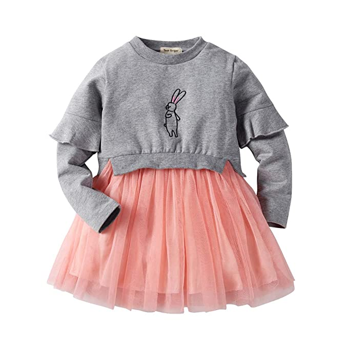 d0bc1d676b13 Tem Doger Toddler Bunny Top and Tutu Skirt, Cute Little Baby Girls Fancy  Princess Tulle