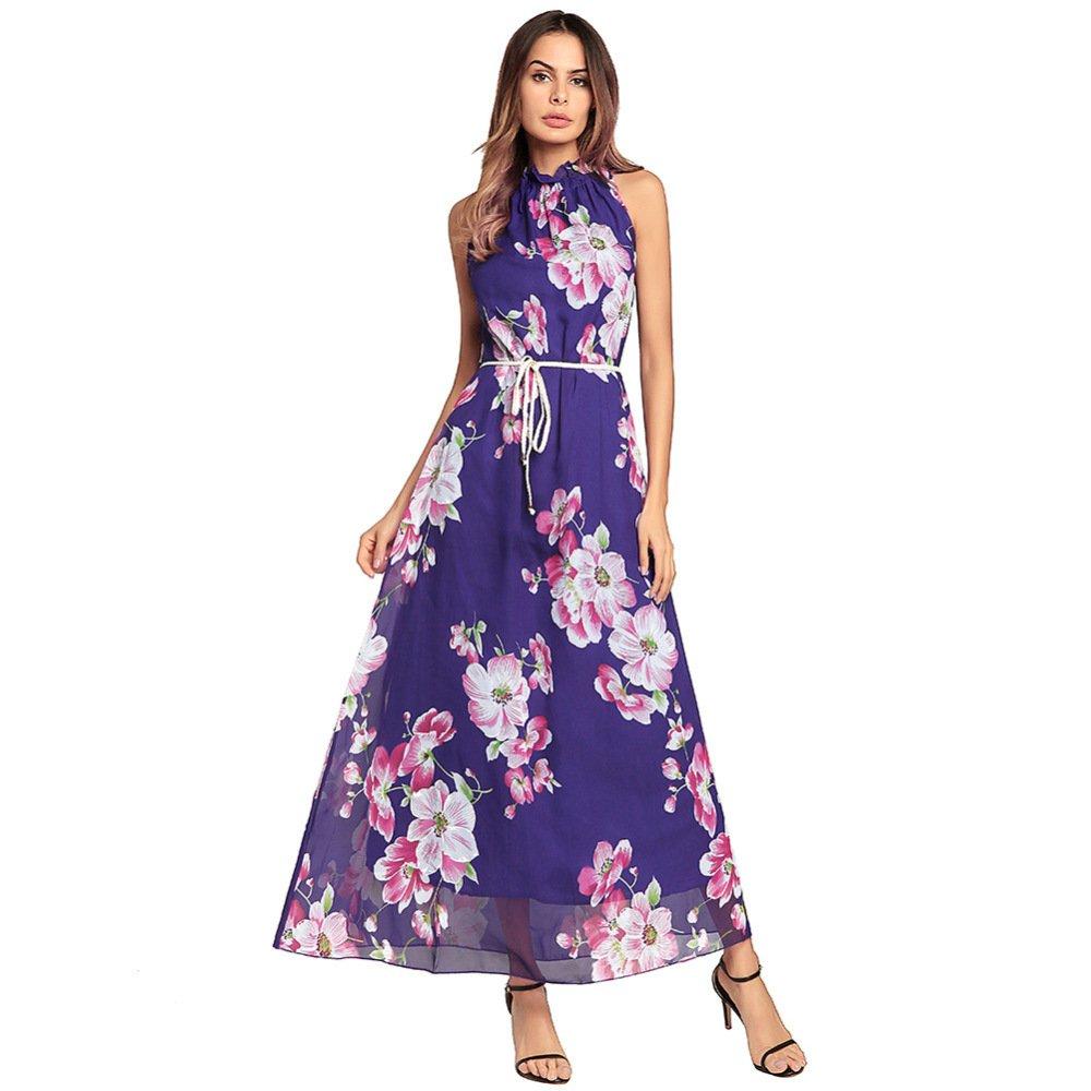 Vestido Bohemio De Las Mujeres del Verano Impreso Gasa Sin Tirantes ...