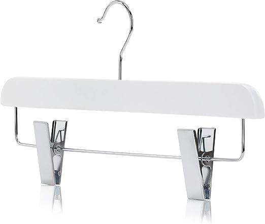 Hangerworld 3 Perchas 36cm Madera Premium Recta Blanca con Pinzas ...