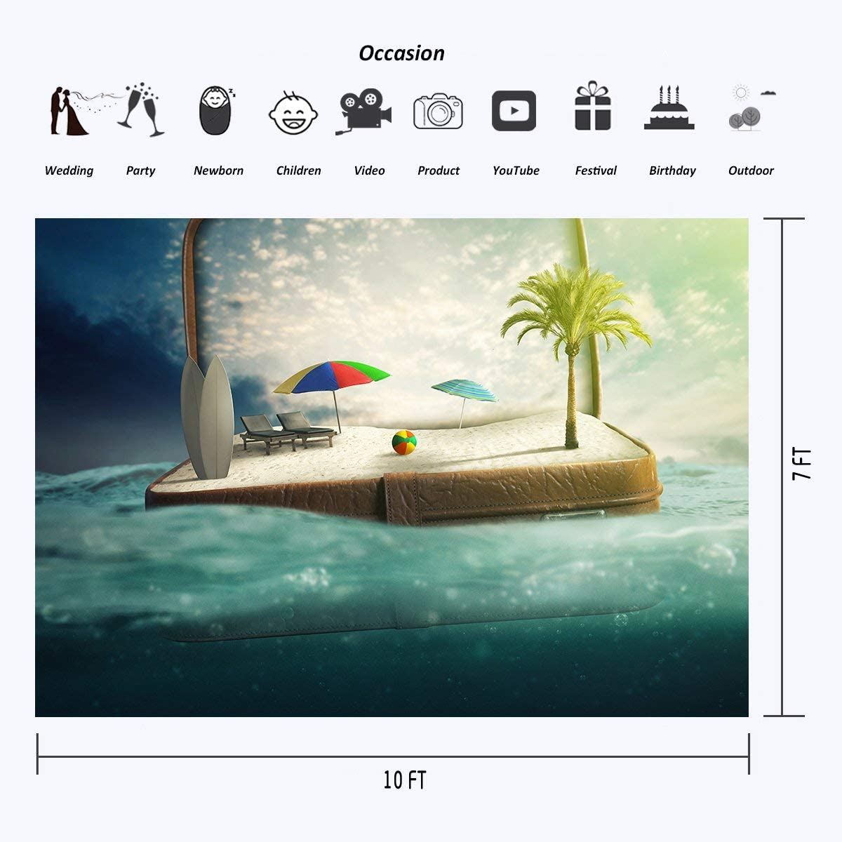 GoHeBe Polyester 10x7 FT Creative Photo Backdrop Sea Luggage Tourist Attractions Studio Background for Children Props 107-266