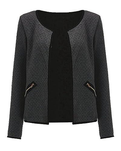 Mujeres Nuevo Moda Cuello Redondo Manga Larga Jacket Tops Abrigo Chaquetas Con Cremallera Bolsillo