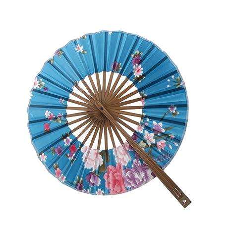 8 Pulgadas Ventilador del Mano Seda de Flor Superficie Abanico Plegable Bambú Monedero Molino de Viento - Azul