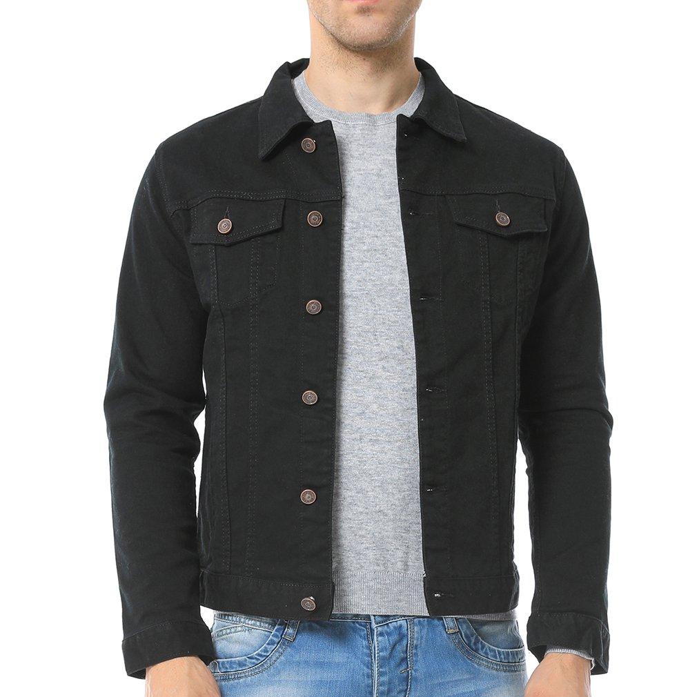 Just No Logo Men's Casual Denim Jacket(Black,US Large) by Just No Logo
