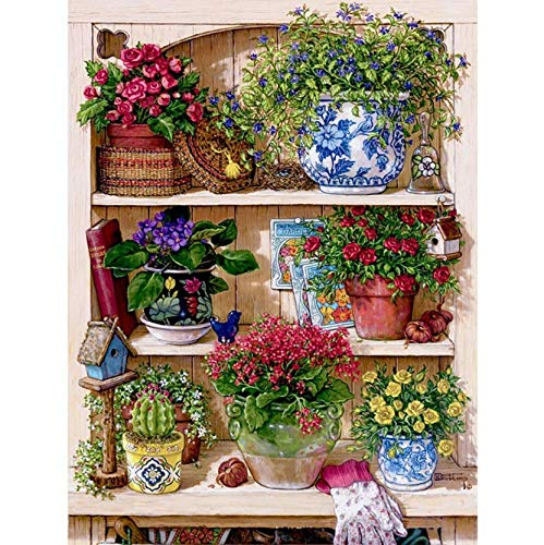 YUMEART Flower On The Shelf 5D DIY Diamond Embroidery Mosaic Picture Pattern Cross Stitch Full Rhinestone Warm Home DIY Diamond - Shelf Pattern
