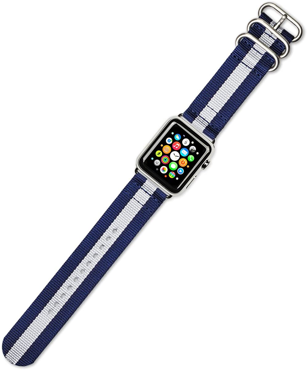 Debeer Watch Band - 2-Piece Nylon - Navy with White Stripe - Compatible with Apple 42mm & 44mm Series 1, 2, 3, 4, 5, and 6 Apple Watch [Black Adapters]