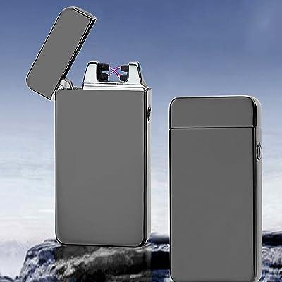 USB double Arc électrique en métal Sans flamme batterie briquets coupe-vent noir