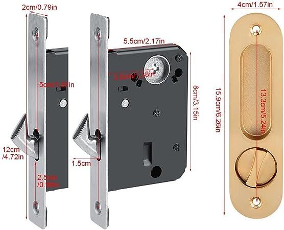 Fdit Cerradura de Puerta de aleación de Zinc Cerraduras de Madera Invisible Cerradura de Puerta con 3 Llaves Pestillo Interior para Baño Cocina Balcón(Oro): Amazon.es: Hogar