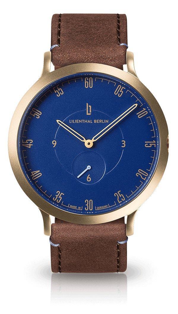 Lilienthal Berlin -Made in Germany- ベルリンの新しい時計モデル L1 ステンレススチール ケース B01HVNLL10 サイズ: 42.5 mm ケース: ゴールド/ ダイアル: ブルー/ ストラップ: ブラウン ケース: ゴールド/ ダイアル: ブルー/ ストラップ: ブラウン サイズ: 42.5 mm