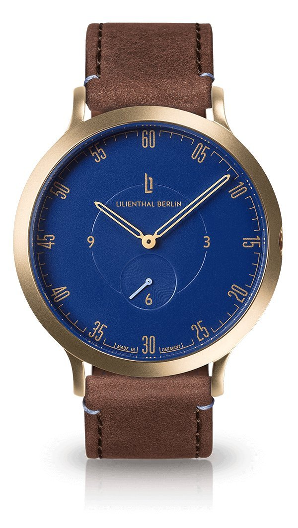 Lilienthal Berlin -Made in Germany- ベルリンの新しい時計モデル L1 ステンレススチール ケース B01NA8WMIR サイズ: 37.5 mm|ケース: ゴールド/ ダイアル: ブルー/ ストラップ: ブラウン ケース: ゴールド/ ダイアル: ブルー/ ストラップ: ブラウン サイズ: 37.5 mm