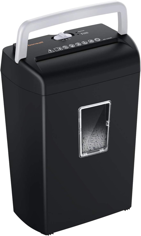 Bonsaii 10-Sheet Cross-Cut Paper Shredder, Credit Card Shredders for Home Office Use, 5.5 Gallons Large Wastebasket with Transparent Window, Black Silver (C209-D)