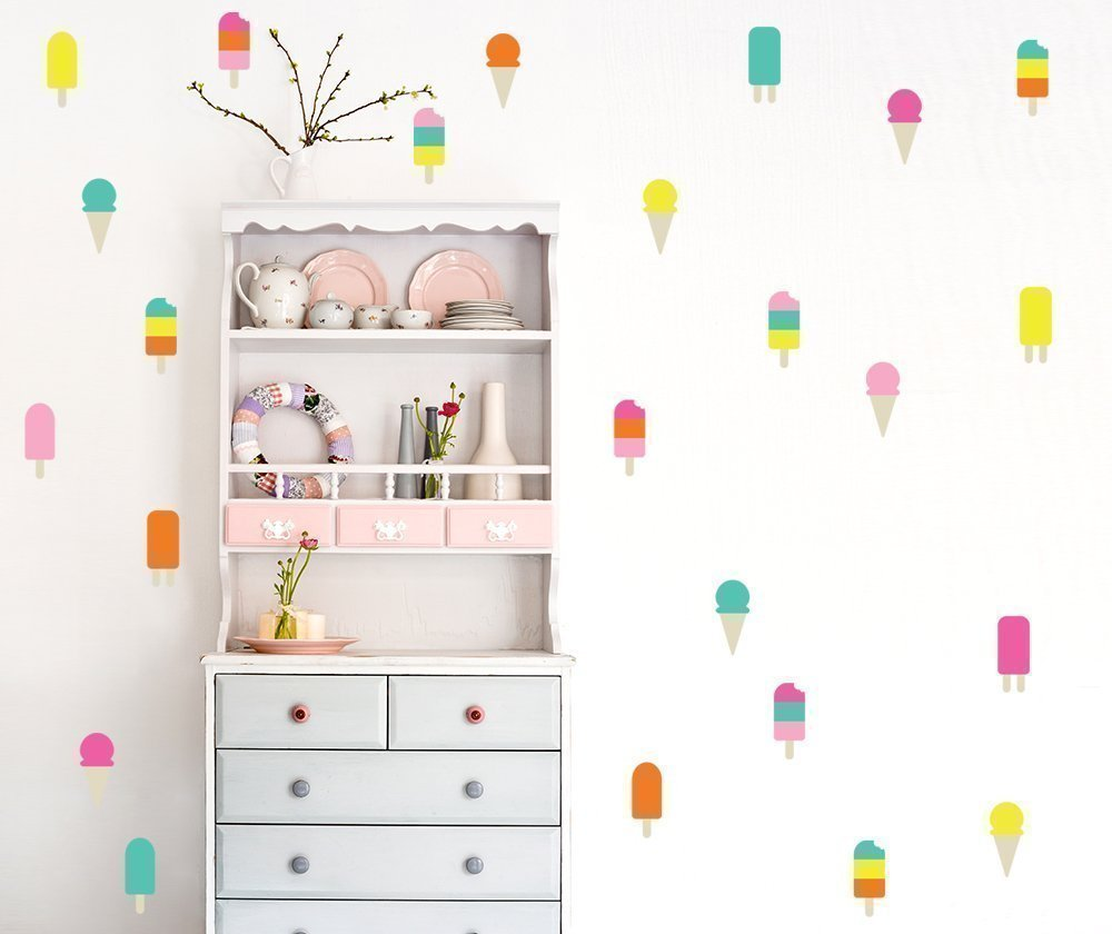 An ice cream wall / Wall Decal / 6 color ice cream Decal / 50 colorful ice cream pattern / Kids Room Decal / Nursery decal / Home Decor / gift