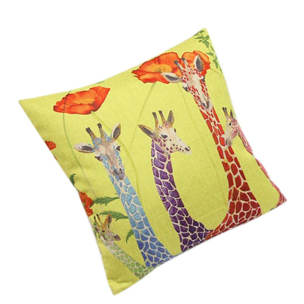 1xToruiwa Pillow Cover Vintage Linen Cloth Pillow Case Animal Giraffe Print Cushion Bolster Cover for Home Sofa Car Decoration Gift 44*44cm