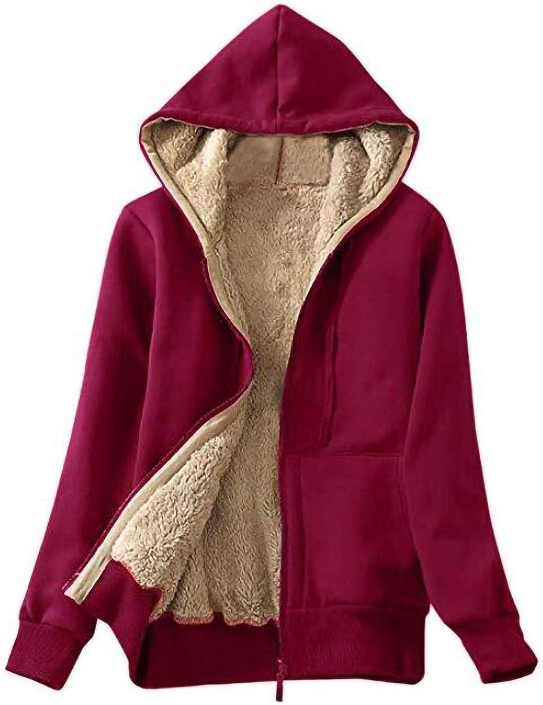 ANNA-KACI Womens Solid Thick Sherpa Fleece Lined Zip Up Pockets Hoodie Sweatshirt Jacket
