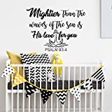 Wall Decals Nursery Mightier Than the Waves of the Sea Is His Love For You Quote Decal Wall Sticker Nautical Nursery Decor Art Psalm 93:4 F2