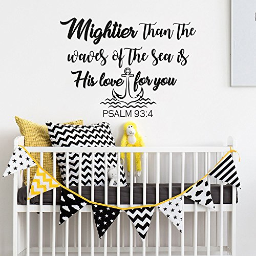 Wall Decals Nursery Mightier Than the Waves of the Sea Is His Love For You Quote Decal Wall Sticker Nautical Nursery Decor Art Psalm 93:4 F2 by NurseryDecalsStore