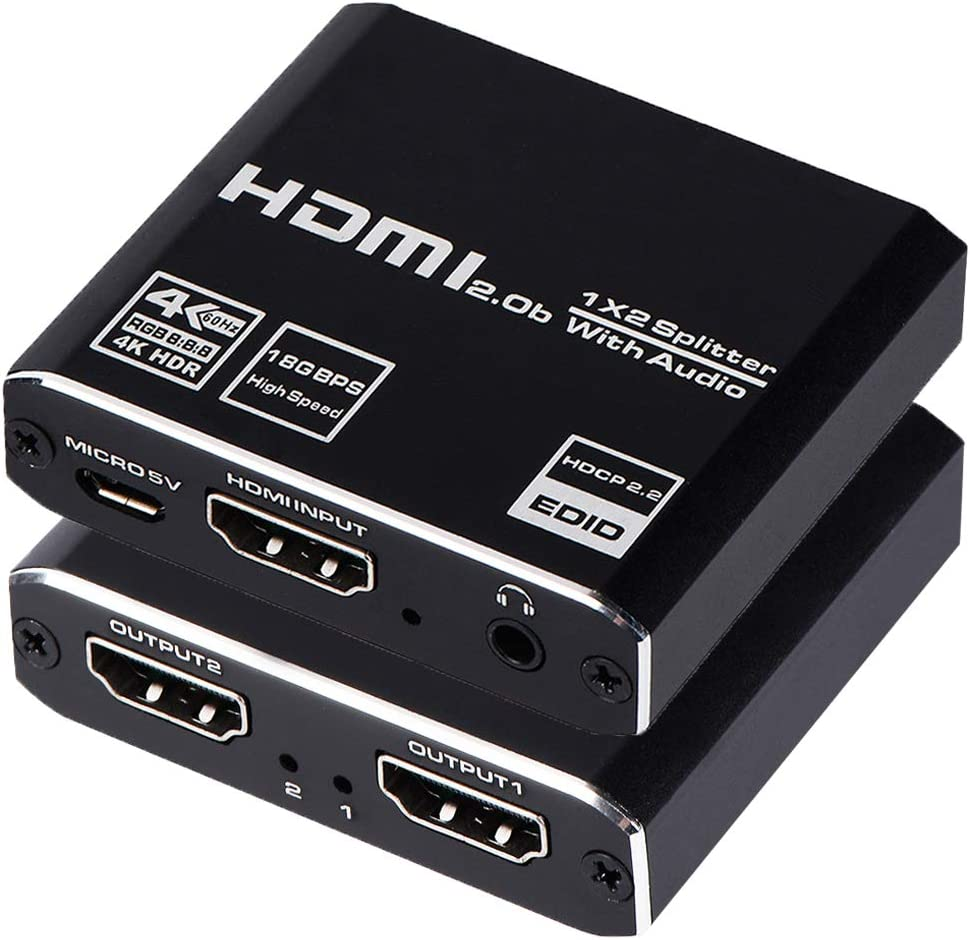 Accessories & Supplies 4k@60Hz Powered 1 in 2 Out HDMI2.0b ...
