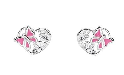 3432bd3f7 Jo for Girls Sterling Silver and Enamel Pink Butterfly Heart Stud Earrings:  Amazon.co.uk: Jewellery