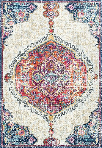 nuLOOM RZBD63A Medallion Maranda Area Rug, 8' x 10', Multi - Features a Medallion design Made of 100% polypropylene Construction: machine made - living-room-soft-furnishings, living-room, area-rugs - 61QQ9eOT2hL -