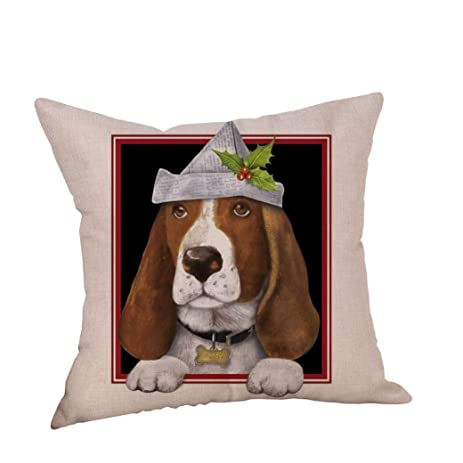 Christmas Pillow Cover Kimloog 18x18 Inch Cute Dog Pattern Linen Cushion Cover Throw Pillowcase Sofa