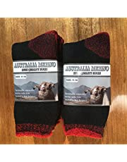 6 PAIRS 6-11 HEAVY DUTY AUSTRALIAN MERINO EXTRA THICK WOOL WORK SOCKS BLACK/RED