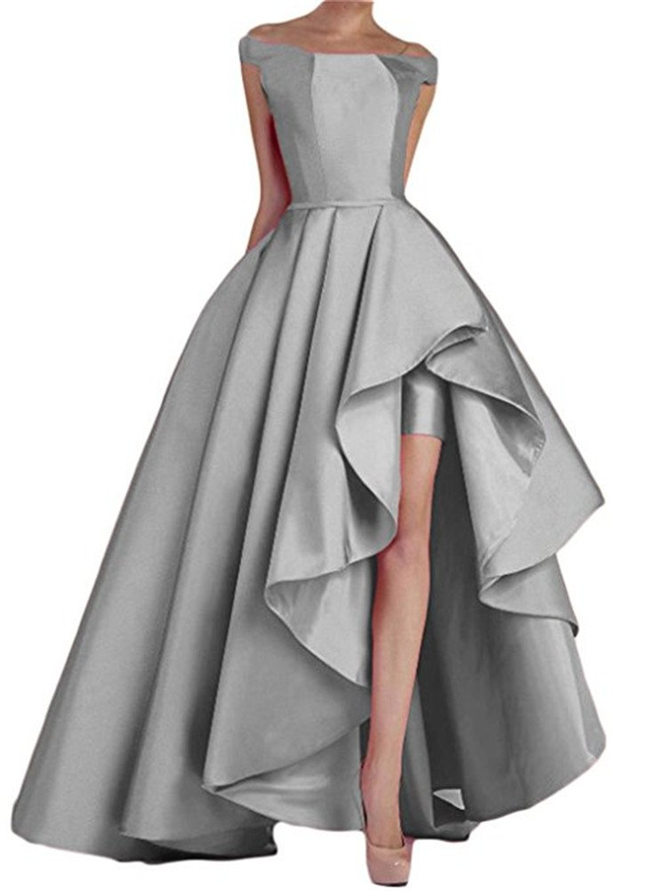 d4b057ea99f ... Silver Homdor High Low Off The Shoulder Prom Dresses Long Satin Evening  Formal Gowns.   