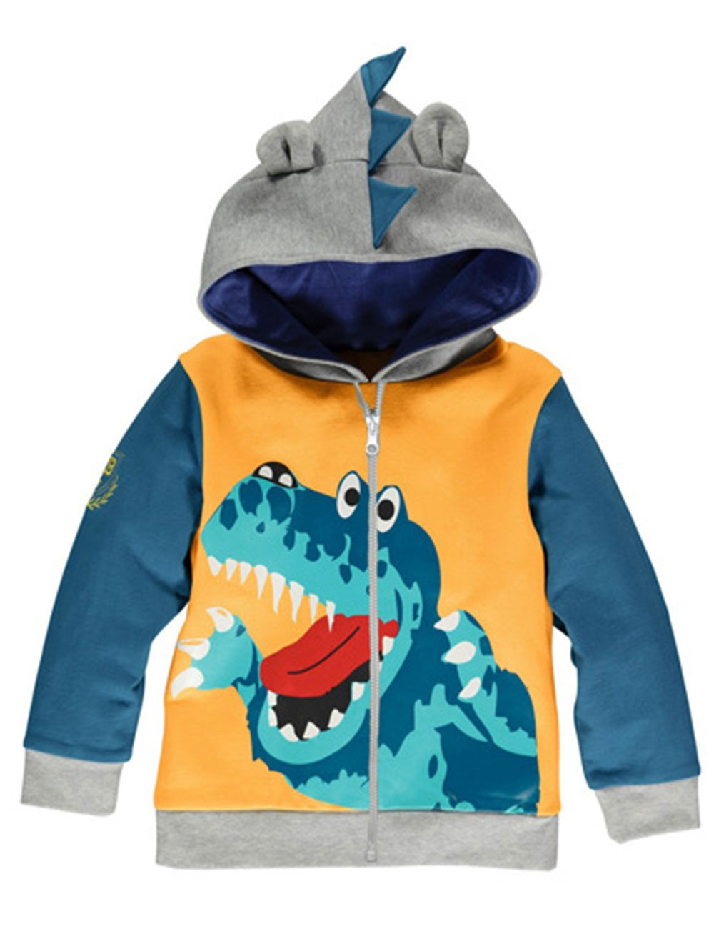 LitBud Boys Hoodies for Kids Toddler Cartoon Dinosaur Zipper Packaway Autumn Coat Size 4-5 Years 5T