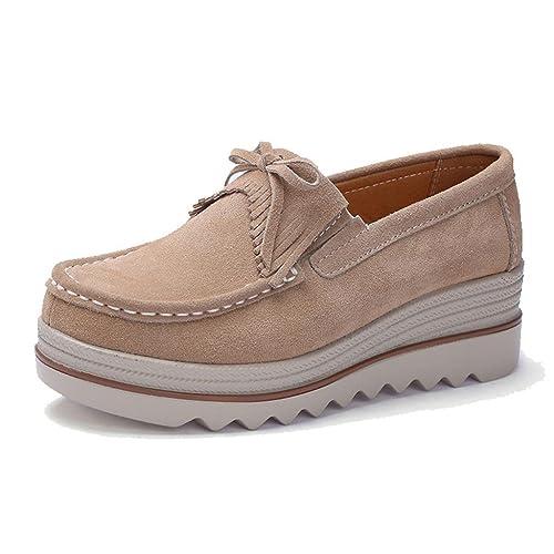 TRULAND Mocasines con Borlas Confort Plataforma para Mujer Gamuza/Perforaciones: Amazon.es: Zapatos y complementos