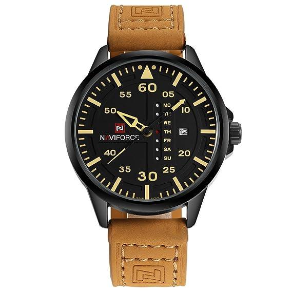Kenon Reloj de cuero real Deporte impermeable Reloj digital Ejército Deporte militar Reloj hombres y mujeres