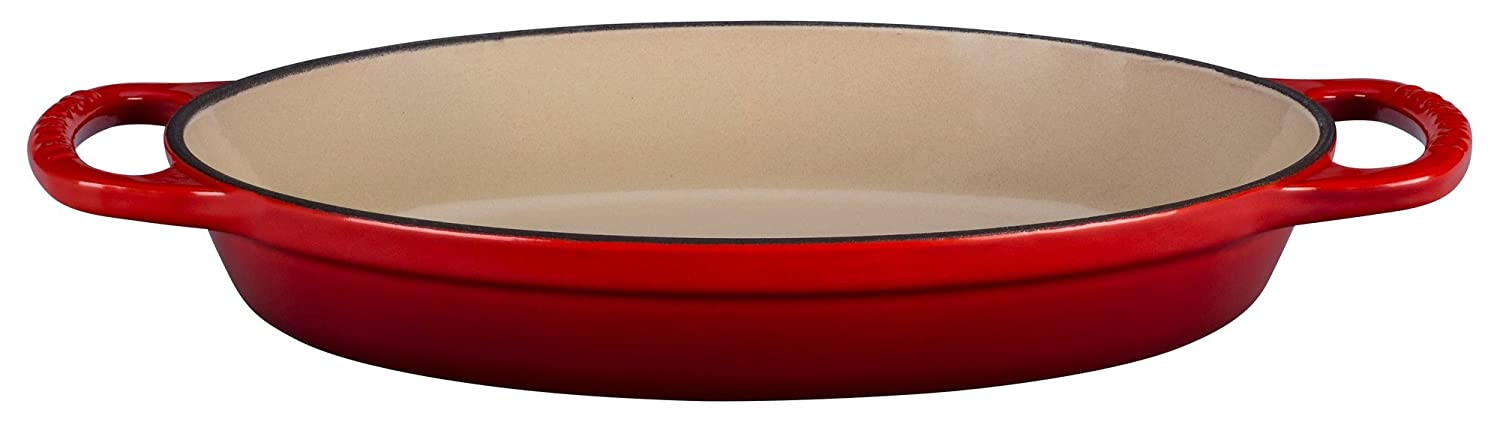 Le Creuset Enamel Cast Iron Signature Oval Baker, 1 quart, Cerise (Cherry Red)