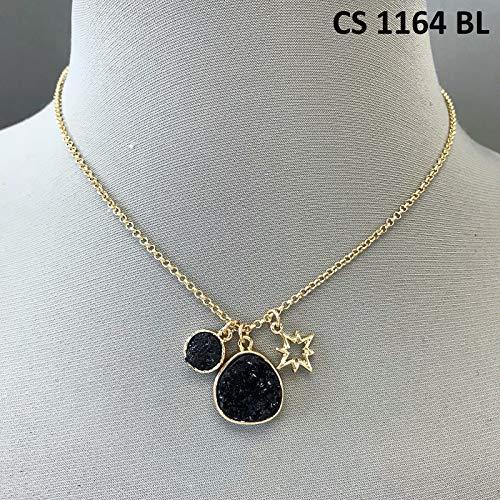 Simple Gold Finished Double Black Druzy Design Pendants Star Charm Necklace