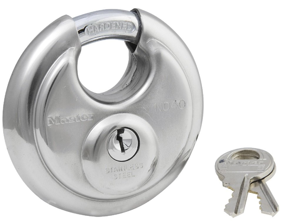 Master Lock Padlock, Stainless Steel Discus Lock, 2-3/4 in. Wide, 40DPF