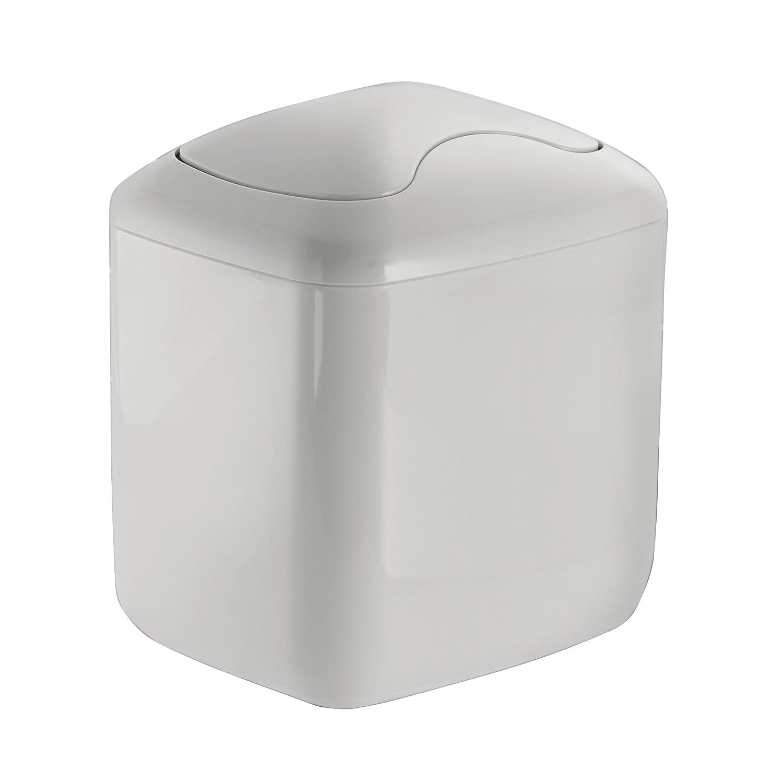 mDesign cestino gettacarte da tavolo - eccellente per la cameretta, l'ufficio, il bagno e la cucina - grigio chiaro - capacità 2,7 L - plastica resistente - con coperchio l' ufficio MetroDecor