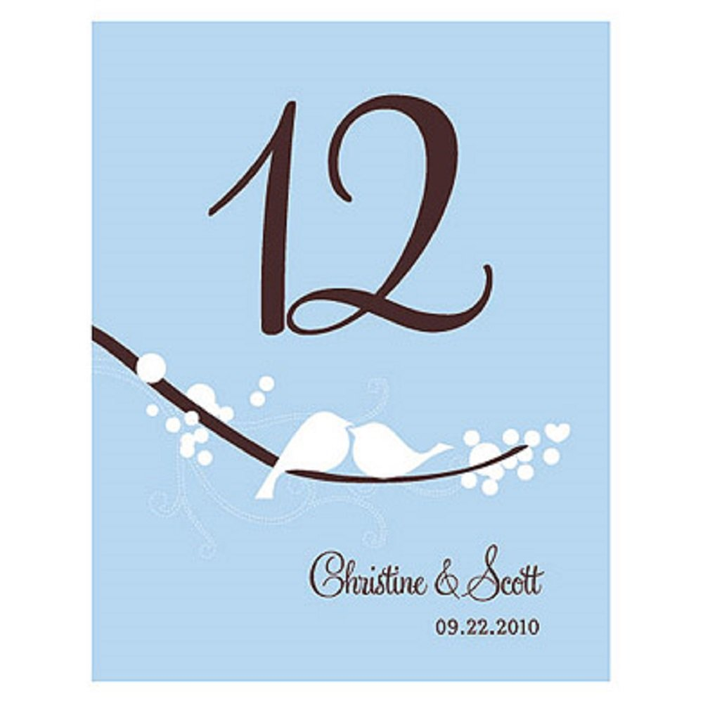 Love Bird Table Number - Numbers 1-12 - Winter