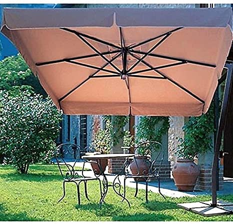 Voladizo cuadrado sombrilla toldo Patio (Valance style-freestanding-sesame lino): Amazon.es: Jardín