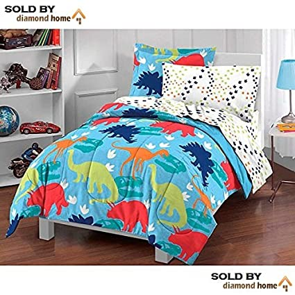 5 Piece Kids Twin Dinosaur Toddler Bedding Set, Bed in a Bag Dinosaur  Comforter Set Print, Prehistoric Dinosaur Theme, Multi Pattern, Blue Green  Red ...