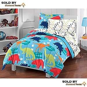 Amazon Com 5 Piece Kids Twin Dinosaur Toddler Bedding Set