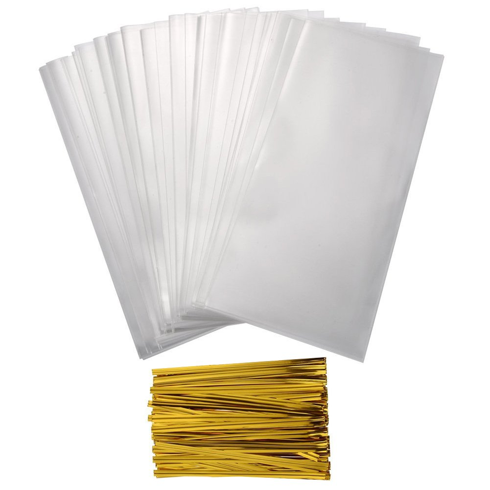 Shintop 400pcs Treat Bags with 450pcs 4'' Twist Ties, 1.4mils Thickness Clear OPP Plastic Bags (4'' x 6'')