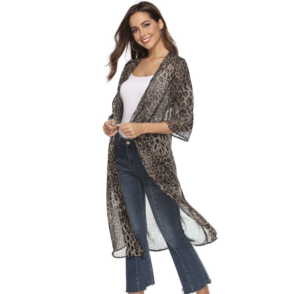 👚 Ropa de Mujer Abrigo Largo con Estampado de Leopardo, Manga Larga Chaqueta de Punto y Protección Solar Tops: Amazon.es: Ropa y accesorios