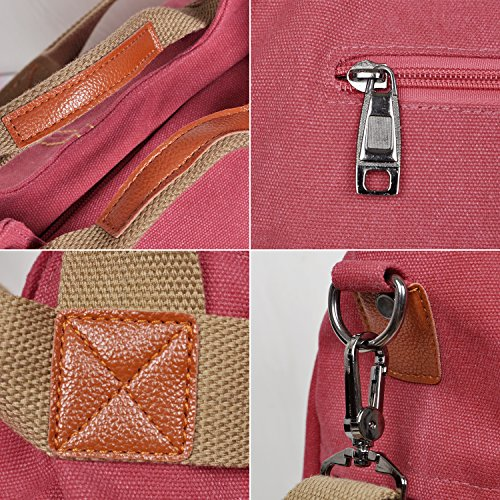 Bag Women's Canvas Shopping Red Purse Tote LOSMILE Crossbody Bags Red Shoulder Vintage Hobo Handle Handbags Top wdE7xIq