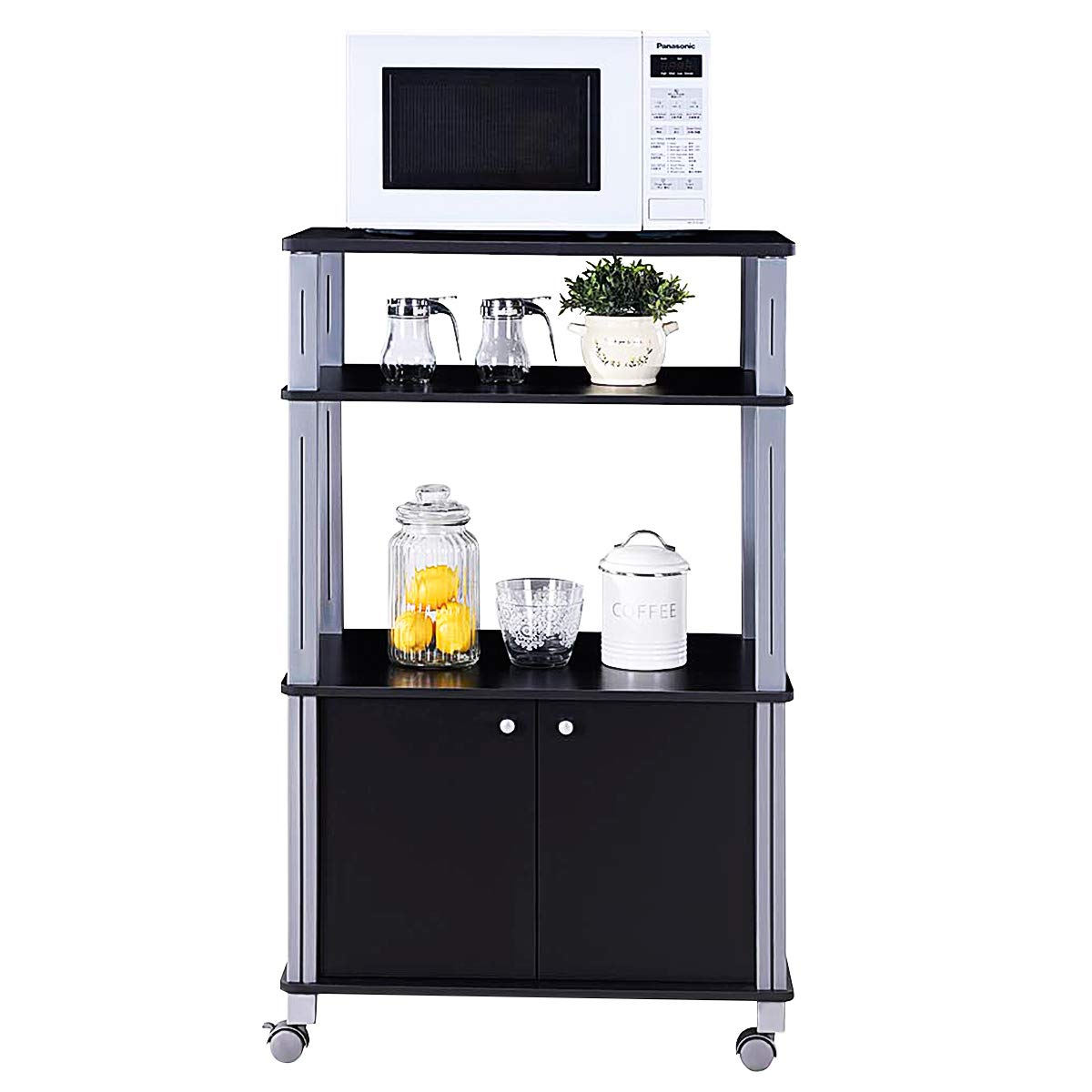 Giantex Rolling Kitchen Baker's Rack Microwave Oven Stand Utility Cart Multifunctional Display Shelf on Wheels with 2-Tier Shelf and Cabinet Spice Organizer for Kitchen Dining Room Furniture (Black) by Giantex (Image #9)