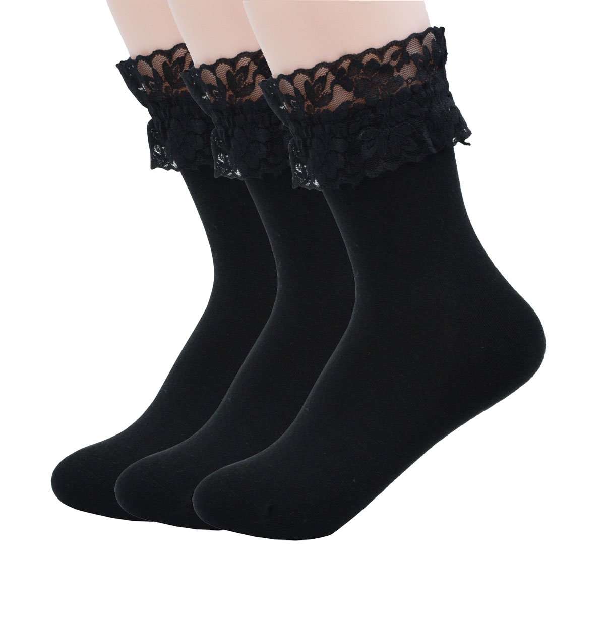 YJLSO Women Lace Ruffle Frilly Cotton Socks Princess Socks Ankle Socks,Many styles and a variety of colors (G-Black),One Size