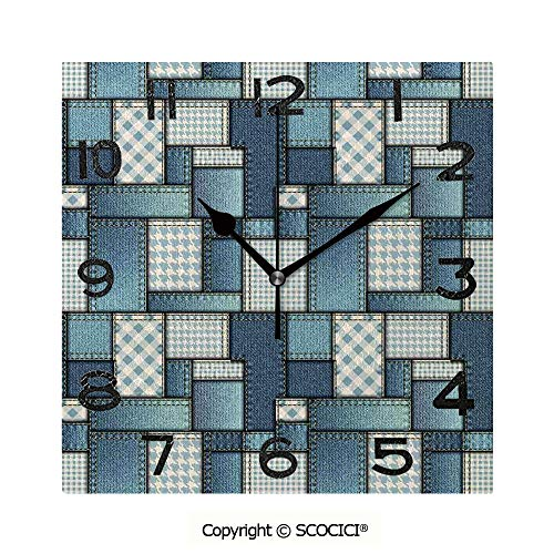 SCOCICI 8 Inch Square Face Silent Wall Clock Denim Motif Background with Several Cross Sewing Figures Simplistic Design Unique Contemporary Home and Office Decor