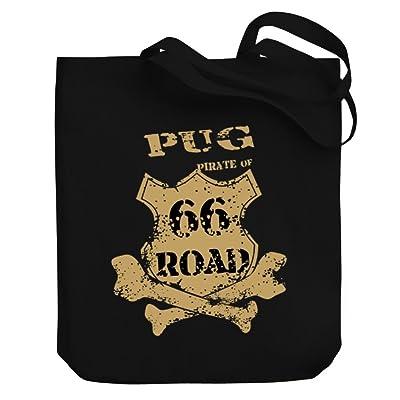 Teeburon Pug PIRATE OF 66 ROAD Canvas Tote Bag