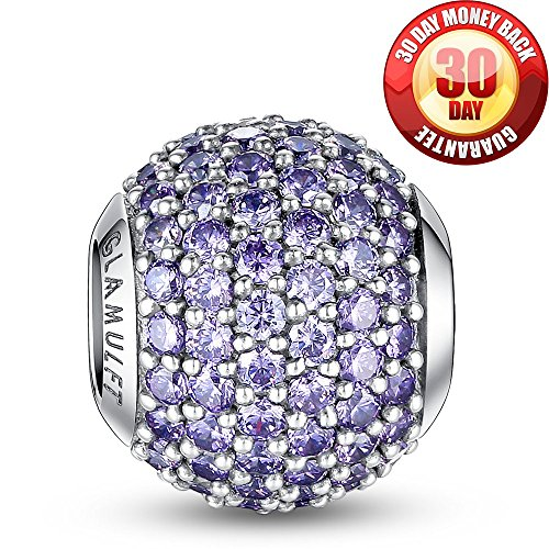 Glamulet 925 Sterling Silver Lucky Birthstone Paved Crystal Charms Beads Fits Bracelet Ideal Gifts (February Amethyst Purple)