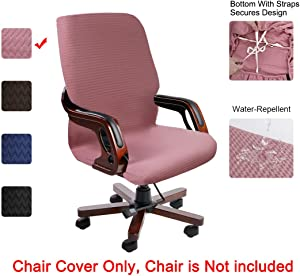 PiccoCasa Durable Stretch Waterproof Office Chair Cover, Elegant Wave Jacquard Pattern High Back Computer Chair Slipcovers for Universal Rotating Boss Chair with Armrest Large Size Pink