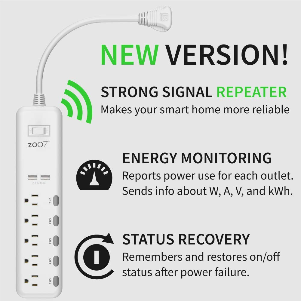 Zooz Z-Wave Plus S2 Power Strip ZEN20 VER. 2.0 with Energy Monitoring and 2 USB Ports, Works with Vera, Wink, SmartThings by ZOOZ (Image #2)