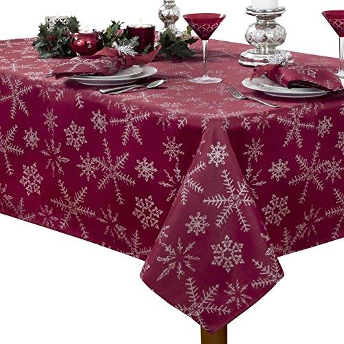 Benson Mills Christmas Twinkle Snowflake Metallic Tablecloth, 60