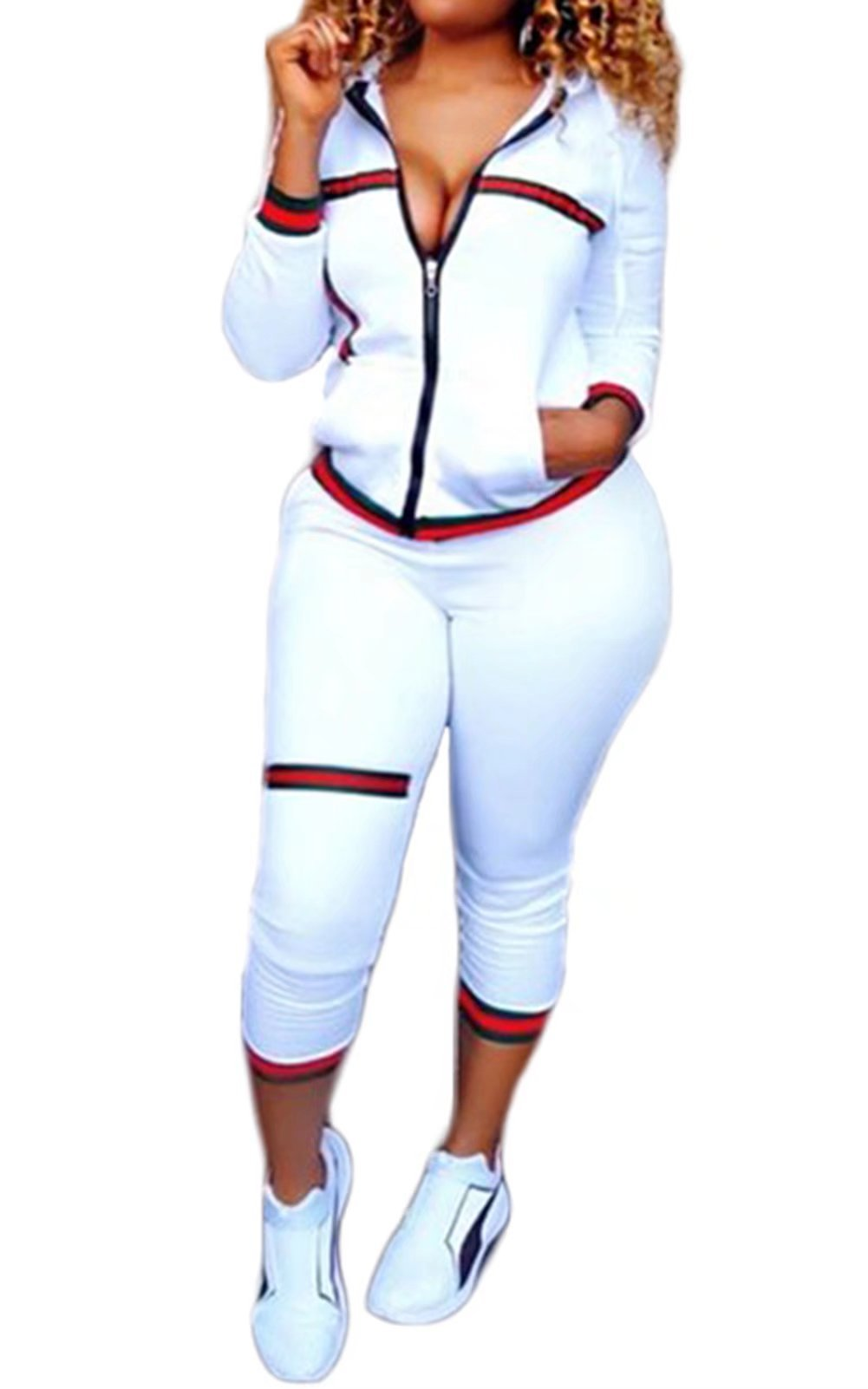 FOUNDO 2 Piece Outfits For Women Tracksuit Zip-Up Jacket and Pants Jogging Set White XL