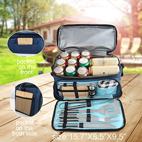 Grilljoy BBQ Grill Accessories Tool Set with 15 can Blue Insulated Cooler Bag - All-in-one BBQ Picnic Cooler Bag - 12pcs Stainless Steel camping Utensil Kit For Outdoor Grilling - Prefect Gift for Men