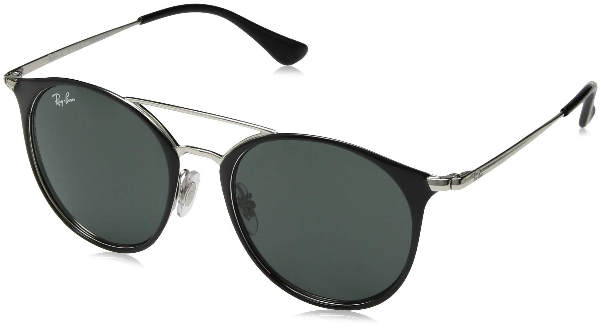 Ray-Ban Junior RJ9545S Round Kids Sunglasses, Black on Silver/Green, 47 mm